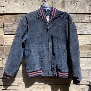 VINTAGE Pelle Sport Blue Suede Varsity Jacket